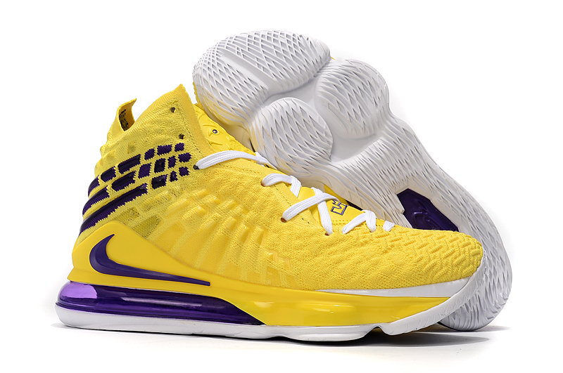 Nike LeBron 17 Yellow White Black Purple Shoes