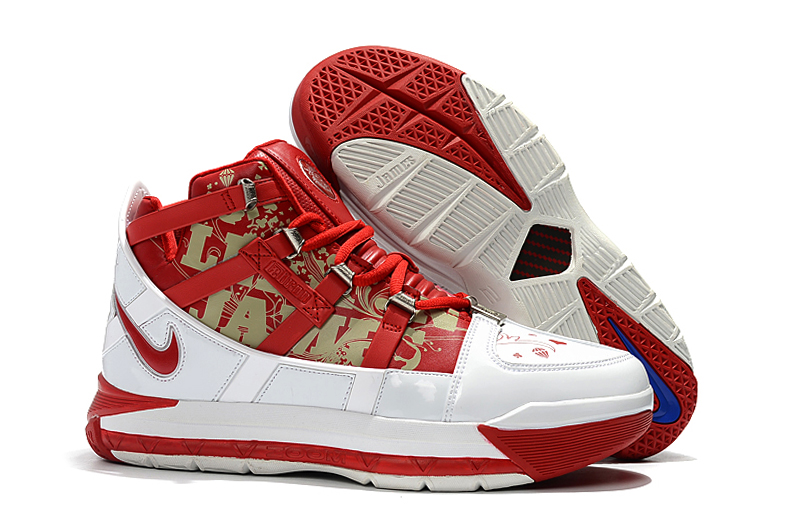 Nike LeBron 3 Retro White Red Gold Shoes