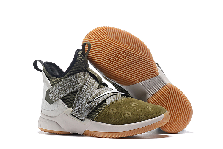 Nike LeBron Soldier 12 Army Green Grey Brown Shoes
