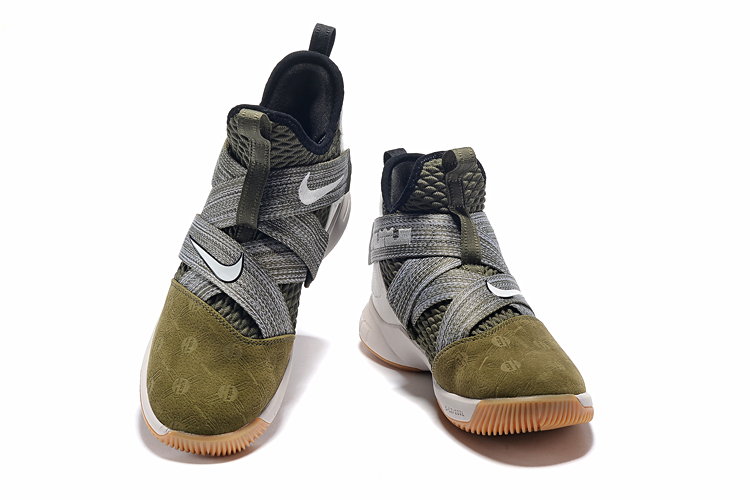 san francisco ea0ed d1cca Nike LeBron Soldier 12 Army Green Grey Brown Shoes ...
