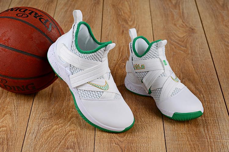 finest selection e807e cd95f Nike LeBron Soldier 12 White Green Shoes [18kobe71412 ...