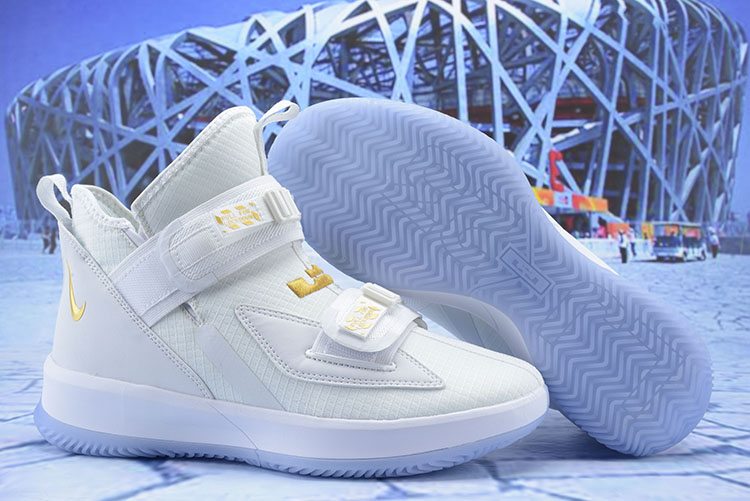 Nike LeBron Soldier 13 White Gold Shoes