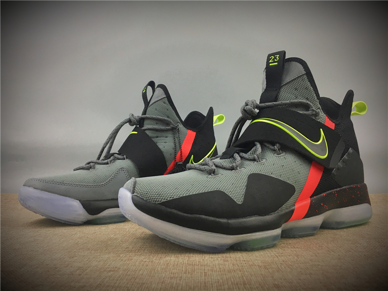 Nike LeBron XIV XMAS EP Black Grey Fluorscent Red Shoes