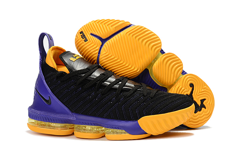 Nike Lebron James 16 Black Purple Yellow Shoes