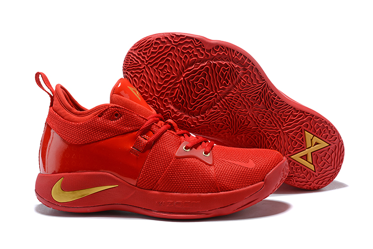 Nike PG 2 All Red Gold Logo Basketball Shoes