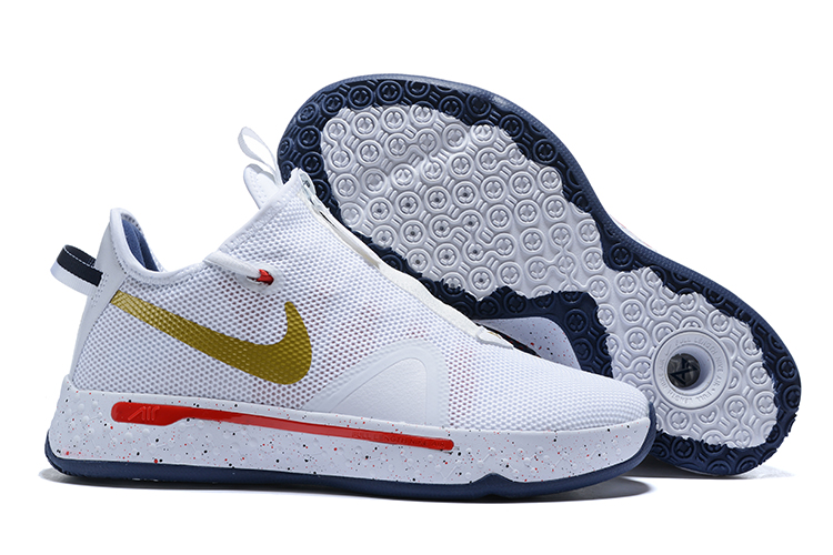 Nike PG 4 White Gold Red Blue Shoes