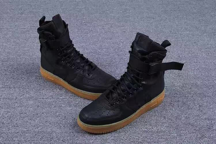 Women Nike Special Forces Air Force 1 Boots Black Gum Light Brown Shoes