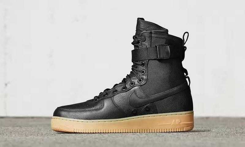 Women Nike Special Forces Air Force 1 Boots Black Gum Light Brown Shoes 5f96db3863