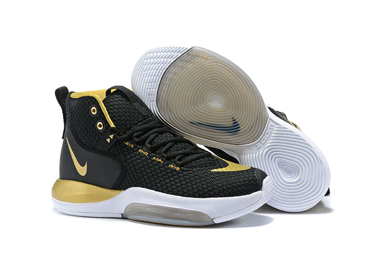 Nike Zoom Rise 2019 Black Gold White Basketball Shoes