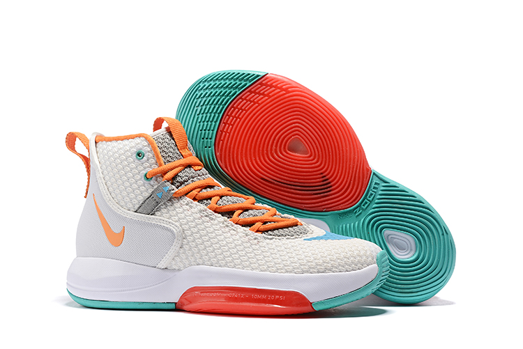 Nike Zoom Rise 2019 White Orange Jade Basketball Shoes