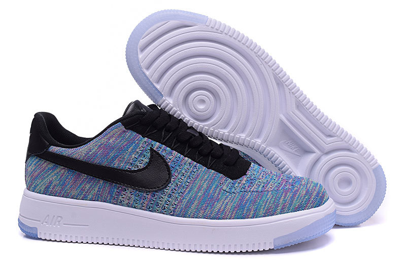 Nike Air Force 1 Flyknit Purple Blue Black Lover Shoes