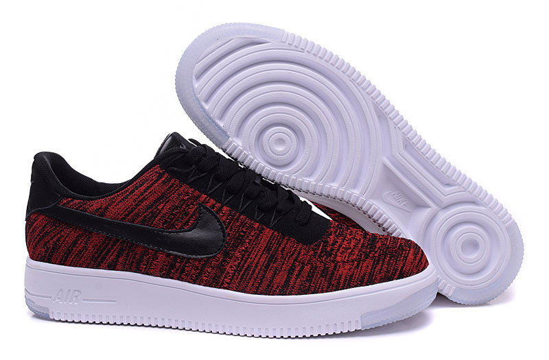 Nike Air Force 1 Flyknit Wine Red Black Lover Shoes
