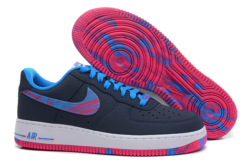 Nike Air Force Deep Blue Blue Pink Shoes