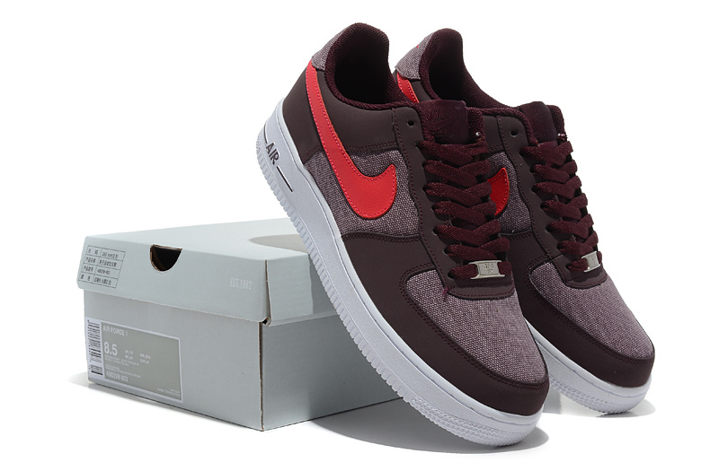 Nike Air Force Wine Red Red White Shoes