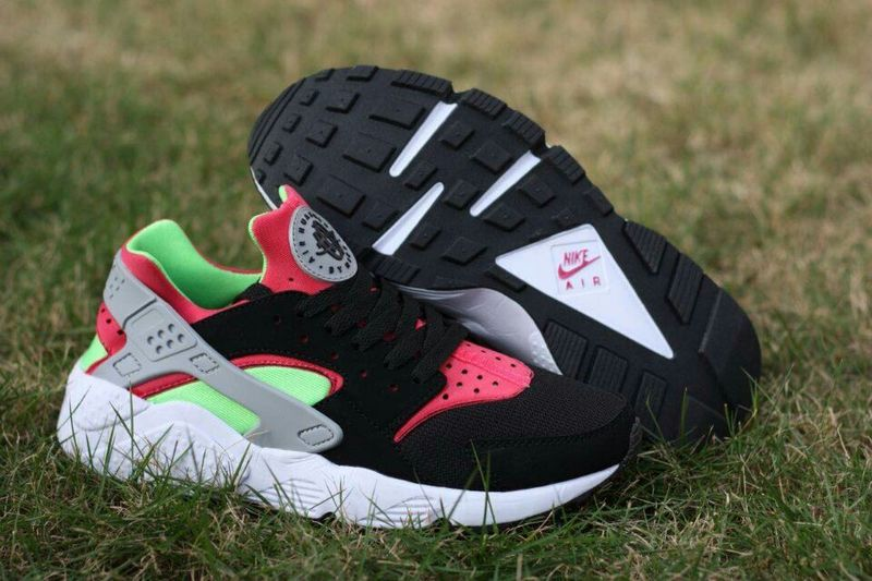 Nike Air Huarache Black Rose Red Light Green Womens Shoes