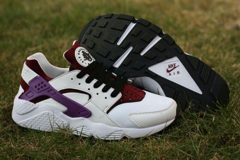 Nike Air Huarache White Purple Wine Red Womens Shoes
