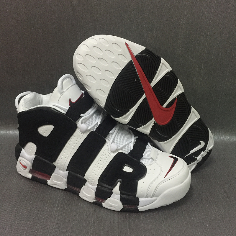Nike Air More Uptempo Air White Black Red Shoes
