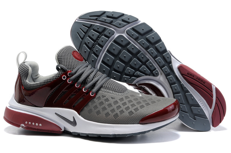 Nike Air Presto 2 Carve Grey Wine Red White Shoes With Big Holes