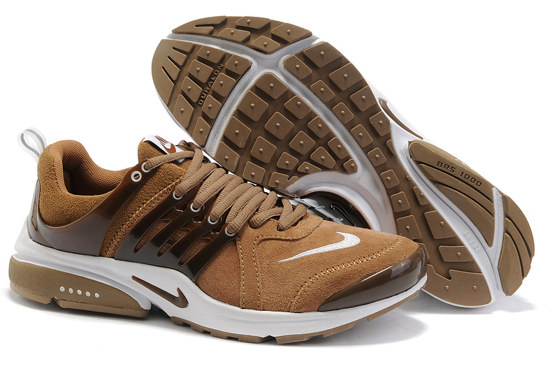 Women Nike Air Presto Suede Brown White Shoes