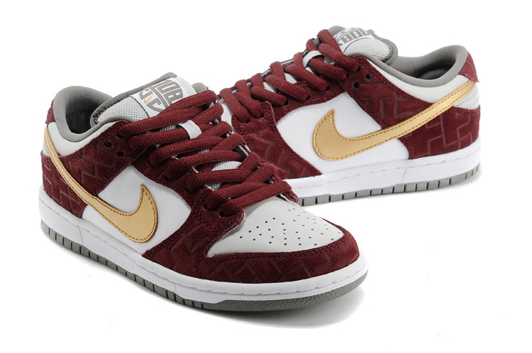 Nike Dunk Low Pro SB Wine Red Yellow White Shoes