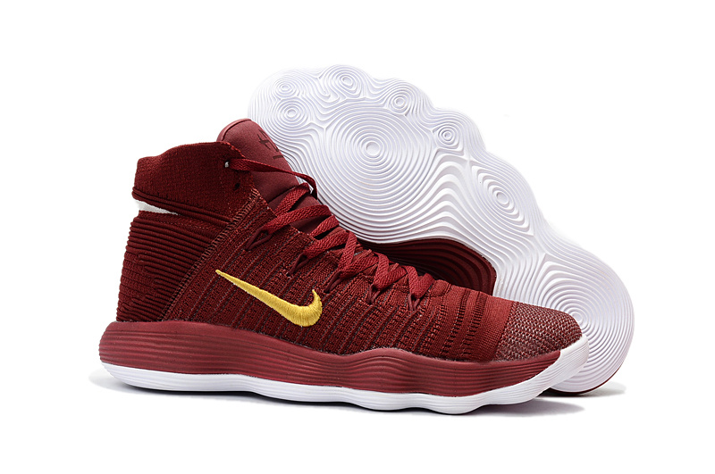 Nike Hyperdunk 2017 Flyknit Wine Red Yellow Shoes