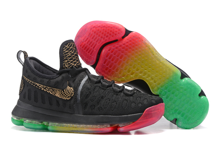 Nike KD 9 Black Gold Rainbow Sole Shoes