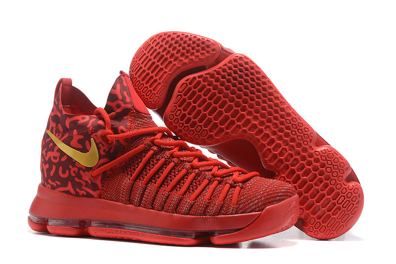 Nike KD 9 Elite All Red Gold Shoes