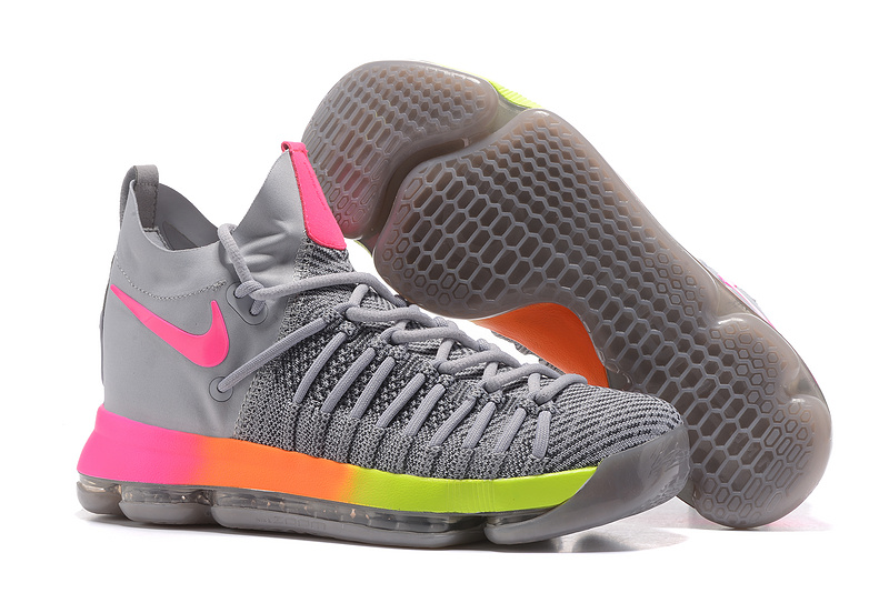 Nike KD 9 Elite Grey Orange Fluorscent Shoes