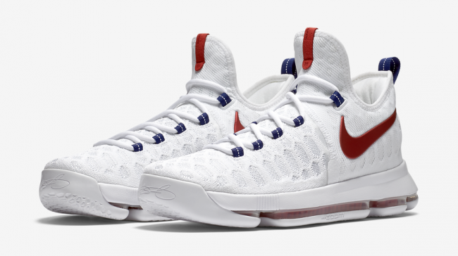 Nike KD 9 Knit Indenpence Day White Red Shoes