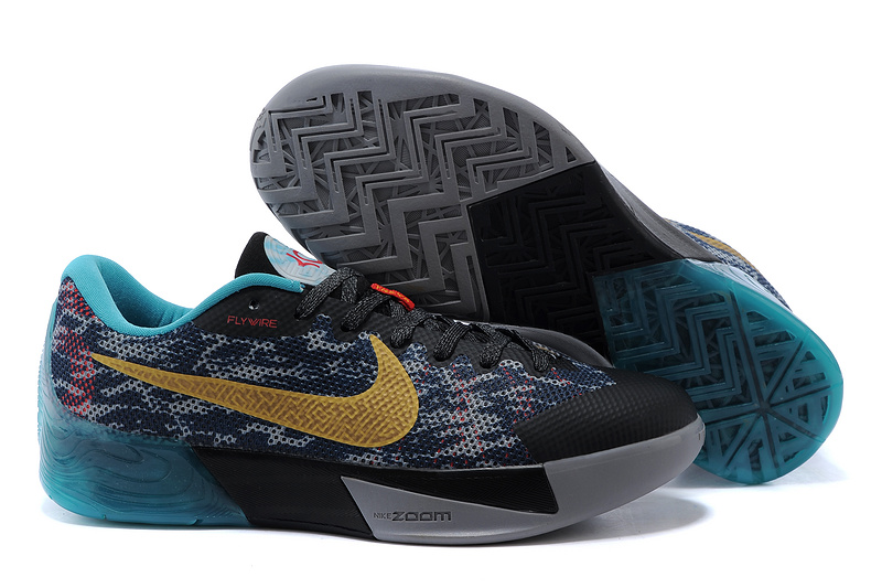 Nike KD Trey 5 II Flywire Black Grey Blue Gold Logo Shoes