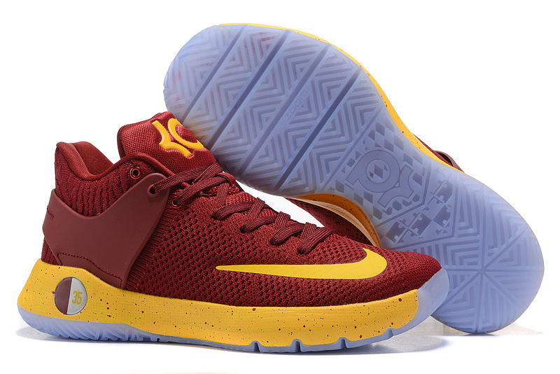 Nike KD Trey V Flywire Wine Red Yellow Shoes