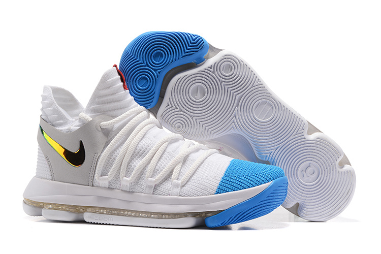 Nike Kevin Durant 10 White Blue Gold Shoes