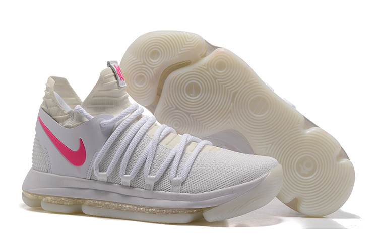 Nike Kevin Durant 10 White Pink Logo Shoes