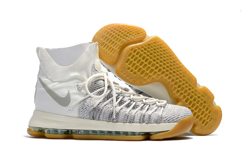 Nike Kevin Durant 9 Elite White Grey Yellow Shoes