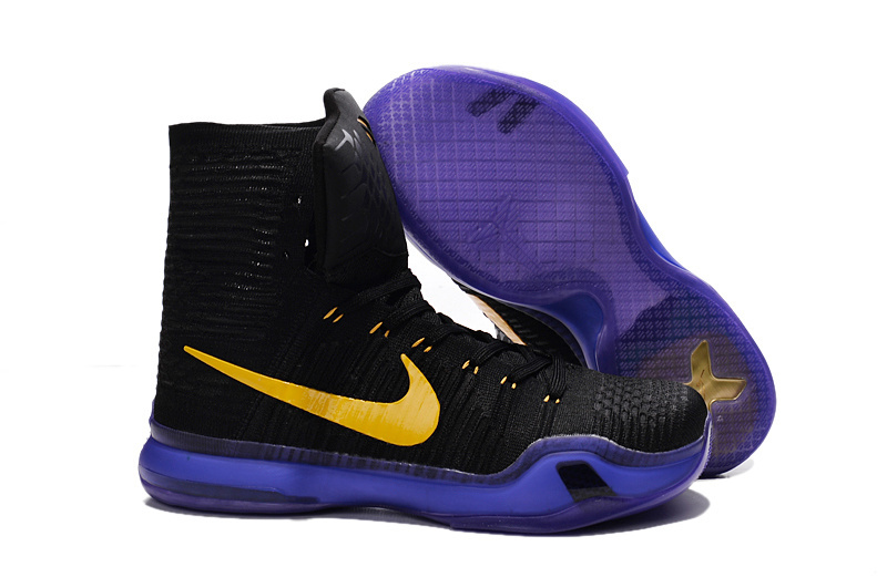Nike Kobe 10 High Black Purple Yellow Basketball Shoes