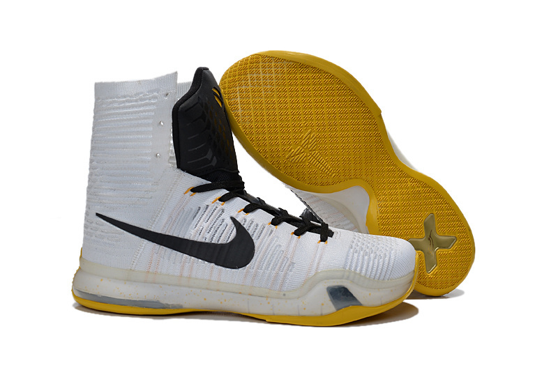 4113285a76f Nike Kobe 10 High White Black Yellow Basketball Shoes