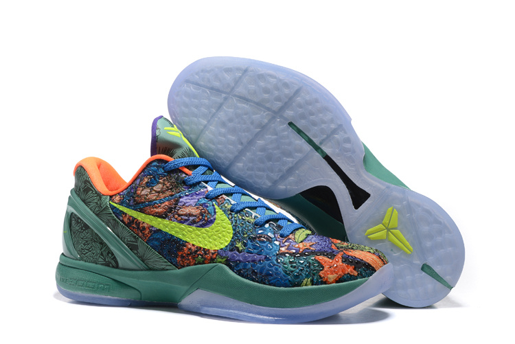Nike Kobe 6 Flyknit Master Blue Orange Green Shoes