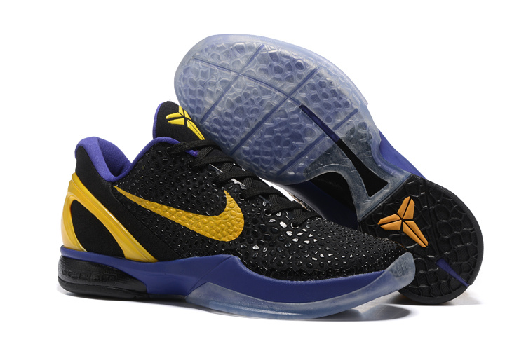Nike Kobe 6 Flyknit Black Purple Yellow Shoes