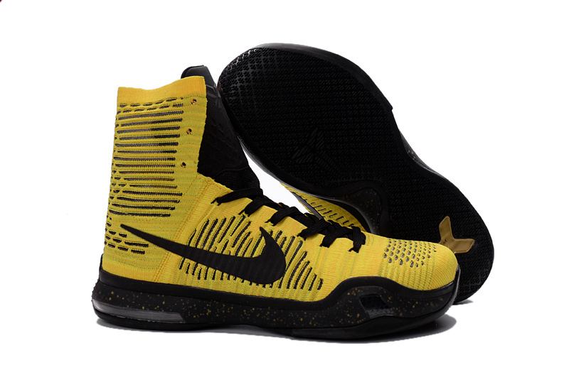 Nike Kobe Bryant 10 Elite High Opening Night Home Court Yellow Black Shoes