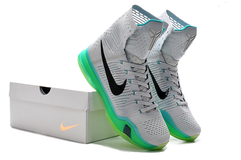 Nike Kobe Bryant 10 High Grey Green Black Shoes