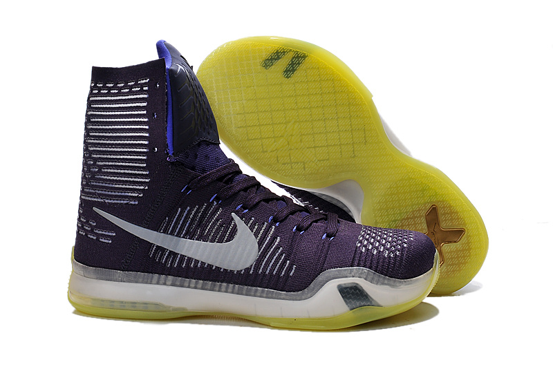 Nike Kobe Bryant 10 High Purple White Yellow Shoes