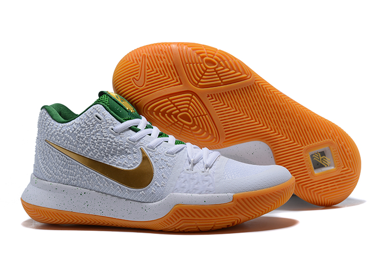 Nike Kyrie 3 White Gold Green Yellow Sole Shoes