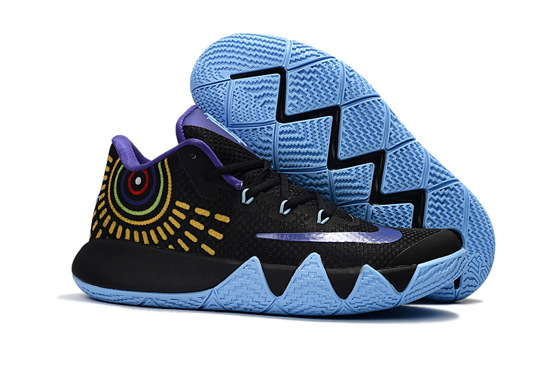 Nike Kyrie 4 Black Blue Gold Shoes