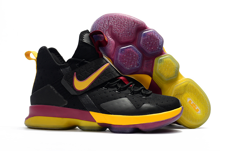 Nike LeBron 14 Black Yellow Wine Red Shoes