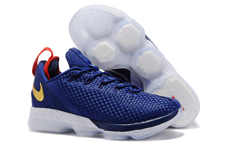 Nike LeBron 14 Low Blue White Gold Shoes