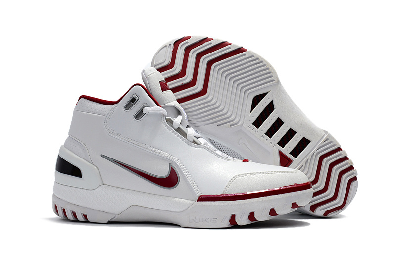 Nike LeBron I Retro All White Red Shoes