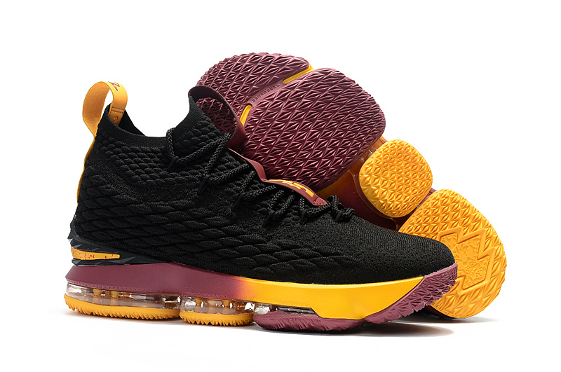 promo code 7d53f 29354 ... nike lebron james 15 cavaliers black yellow wine red shoes