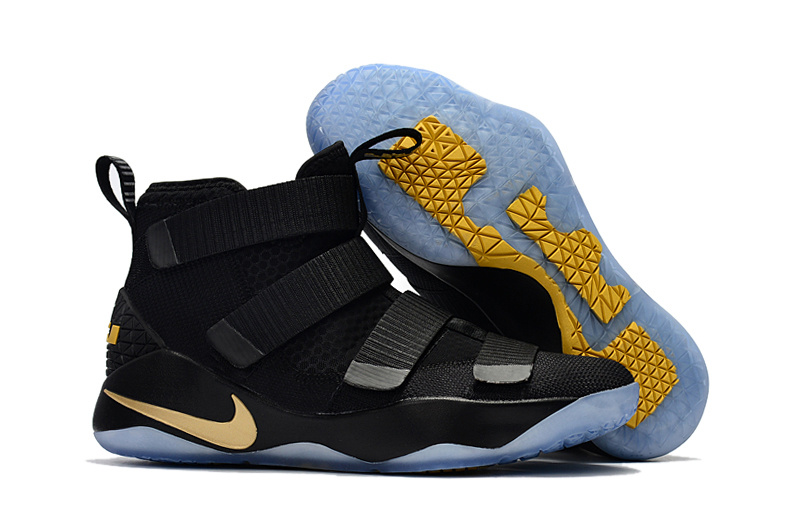 Nike LeBron Soldier 11 All Black Gold Shoes