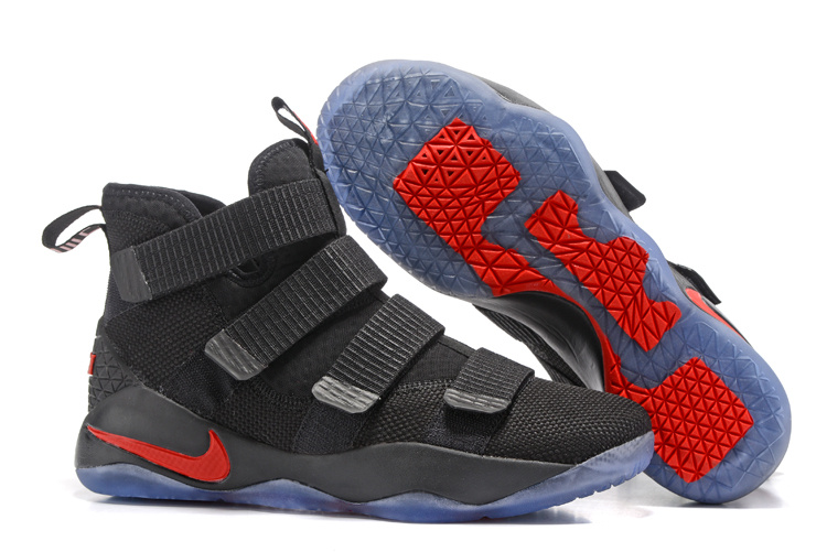 Nike LeBron Soldier 11 Black Red Ice Blue Sole Shoes
