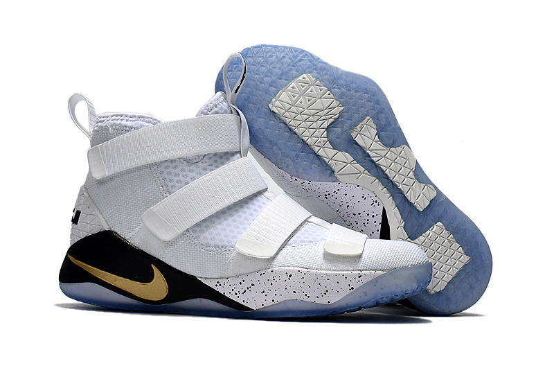 Nike LeBron Soldier 11 White Black Gold Shoes